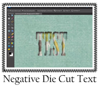 Negative Die Cut Text