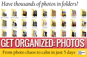 Get your photos organized with this awesome class. Go from overwhelmed to inspired in just 5 days | http://scrapinspired.com/?p=7123