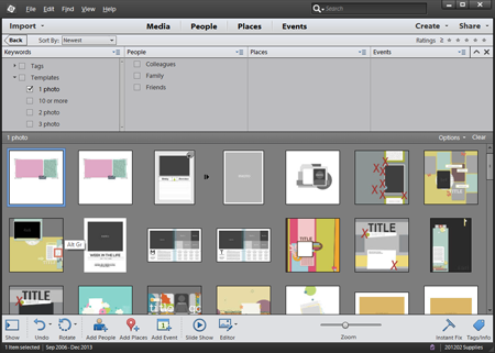 1 photo templates in Photoshop Elements Organizer