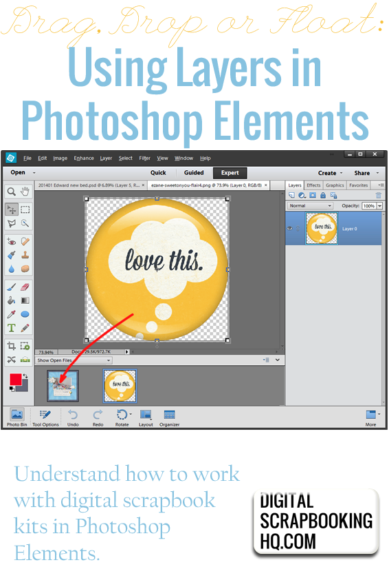 Photoshop Elements Beginner : How to Use Floating Document ...