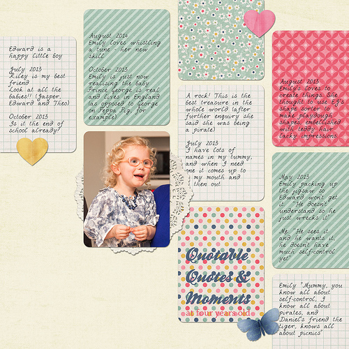 Take a look inside my album to see a layout about quotes from my daughter! #digiscrap #digital #scrapbooking