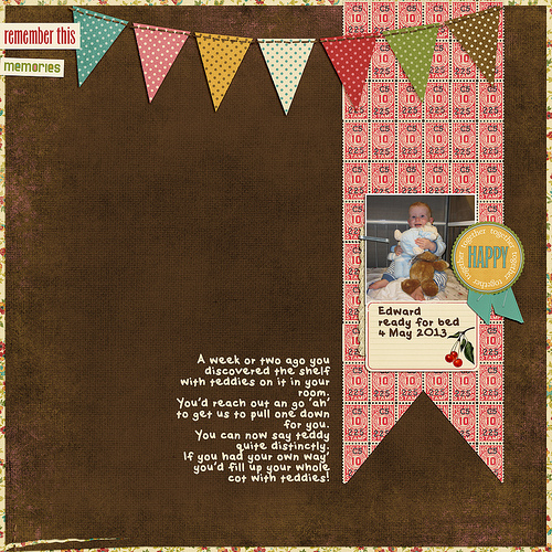 Take a look inside my album to see a layout about my son and his teddies! #digiscrap #digital #scrapbooking