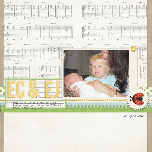 Take a look inside my album to see a fun siblings layout! #digiscrap #digital #scrapbooking