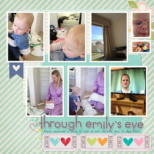 Take a look inside my album to see a layout with photos from my daughter's perspective! #digiscrap #digital #scrapbooking