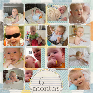 Take a look inside my album to see my 6 Months layout! #digiscrap #digital #scrapbooking