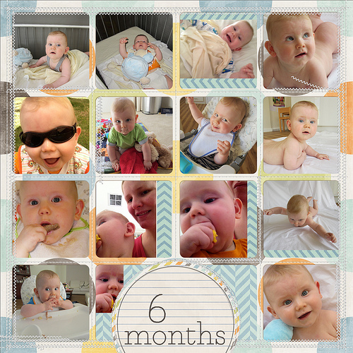 Take a look inside my album to see my son's 6 Months layout! #digiscrap #digital #scrapbooking