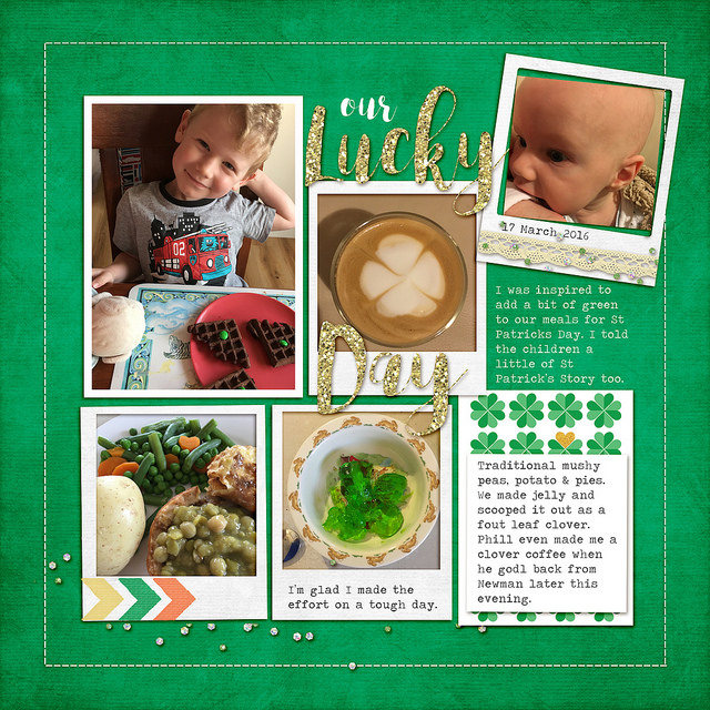 Each week I share a scrapbook layout to give you a little sneak peek into what I'm scrapping, and inspire you to play with pretty pixels too. Today I'm sharing a page from my family's album about our lucky day.