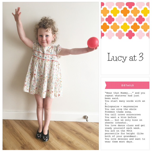 Each week I share a scrapbook layout to give you a little sneak peek into what I'm scrapping, and inspire you to play with pretty pixels too. Today I'm sharing a page from my family's album about Lucy at 3. #digiscrap #scrapbooking